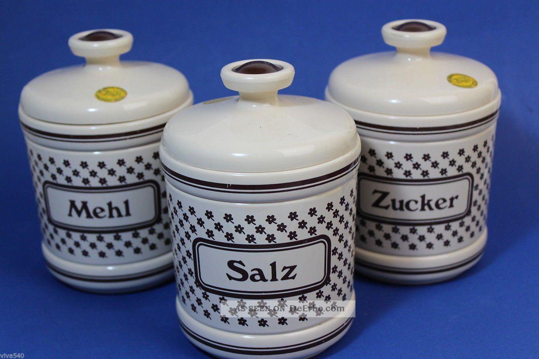 Emsa 3 Vorratsdosen Mehl Salz Zucker Plastik Vintage Designklassiker von Vorratsdosen Mehl Zucker Salz Keramik Photo