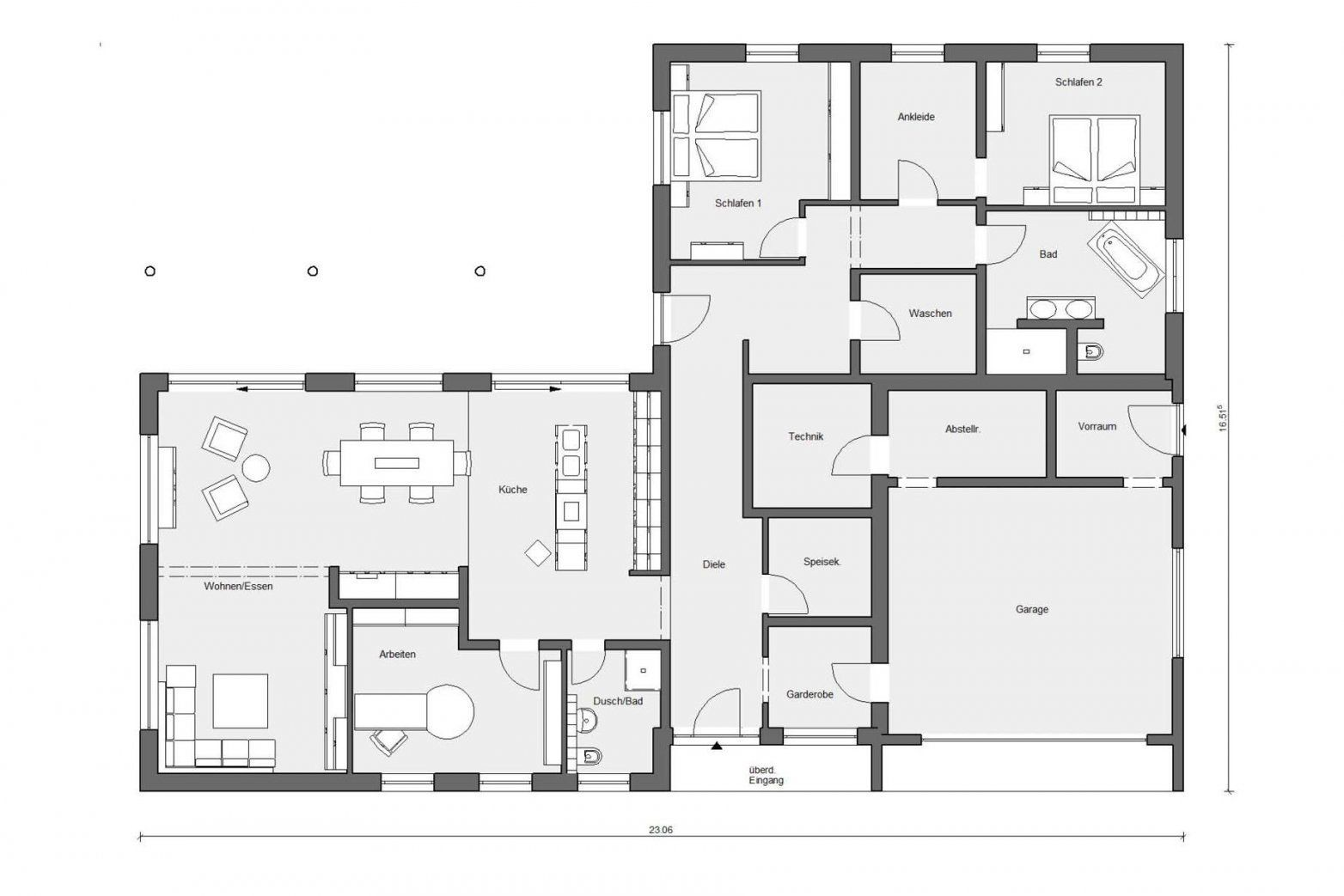 Erdgeschoss  Haus  Pinterest  Bungalow And House von Bungalow L Form Grundriss Bild