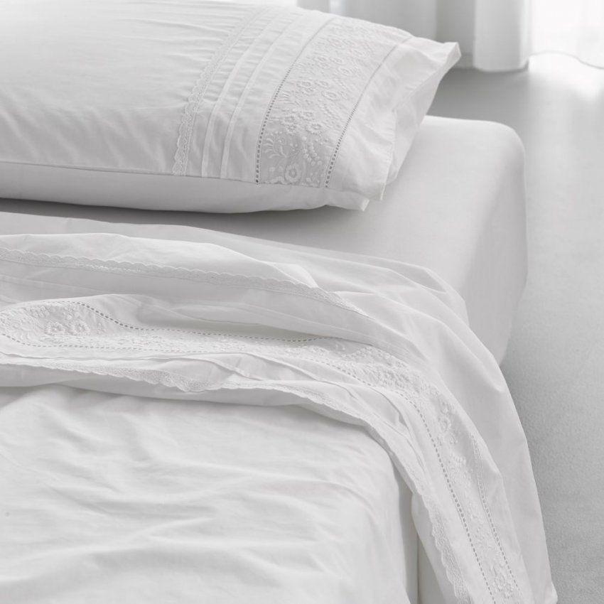 Essenza Bettwäsche Avery White Gestickt Klassisch Spitze Weiß Perkal von Weiße Bettwäsche Mit Spitze Bild
