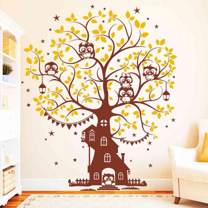 Eulen Baum Haus (2Farbig)  Wandtattoo von Wandtattoo Baum Mit Eulen Bild
