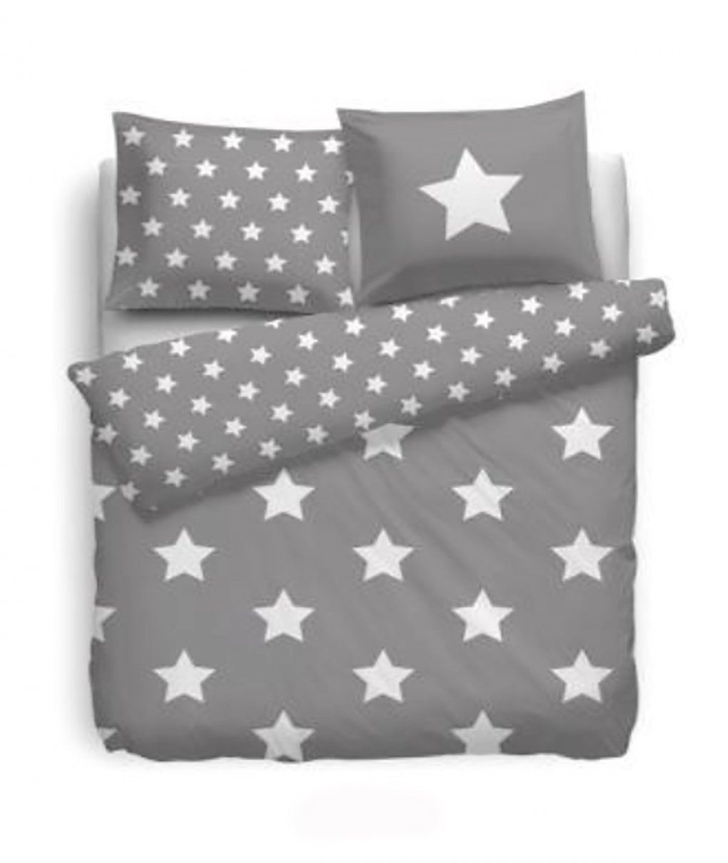 F2F Biber Bettwäsche Stars Sterne In Grau 135 X 200 + 80X80 Cm von Biber Bettwäsche Sterne Grau Bild