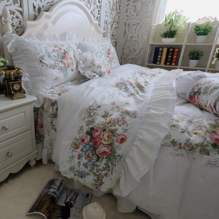 Fadfay Designer Weiß Bettwäscheset Romantic Roses Print Bettbezug von Rüschen Bettwäsche Weiß Bild