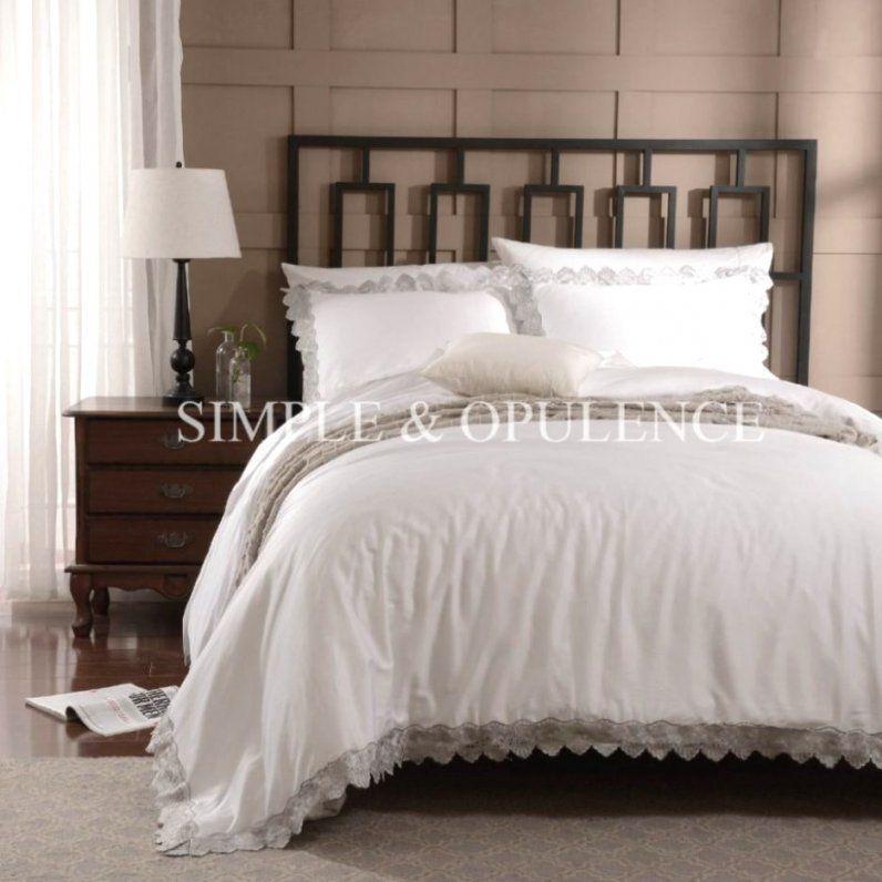 Fantastische Inspiration Weiße Bettwäsche Mit Spitze Und Entzückende von Weiße Bettwäsche Mit Spitze Bild