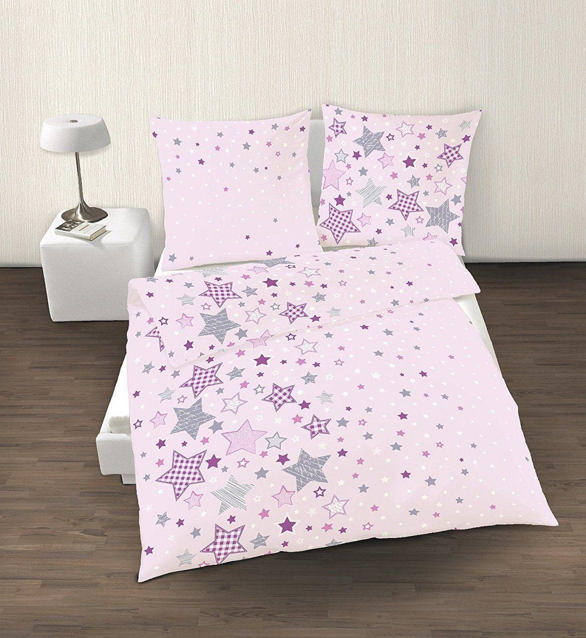 Fein Biber Bettwäsche Sterne Stars In Rosa Lila Grau 2 Tlg  Größe von Biber Bettwäsche Mädchen Bild