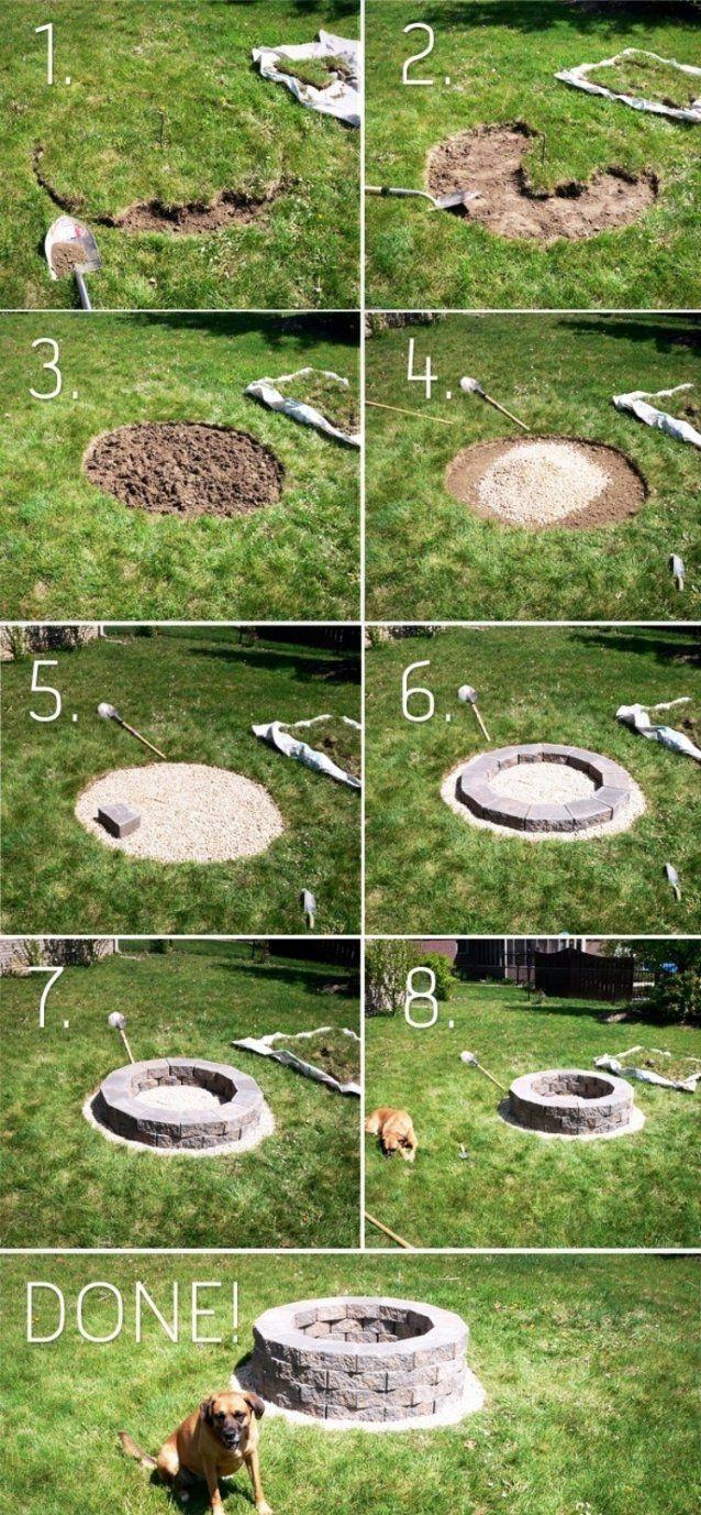 Feuerstelle Im Garten Bauen  49 Ideen Und Bilder Als Inspirationen von Offene Feuerstelle Garten Selber Bauen Bild