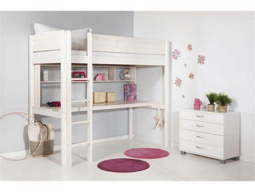 Flexa Basic Trendy Hochbett Weiß Mit Gerader Leiter Schreibtisch Und von Hochbett Weiß Mit Schreibtisch Bild