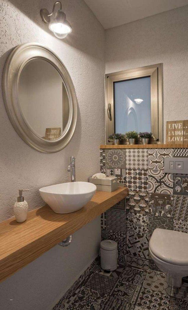 Fliesen Hinter Waschbecken Elegant Gäste Wc Mit Muster Fliesen Und von Waschbecken Gäste Wc Ideen Bild