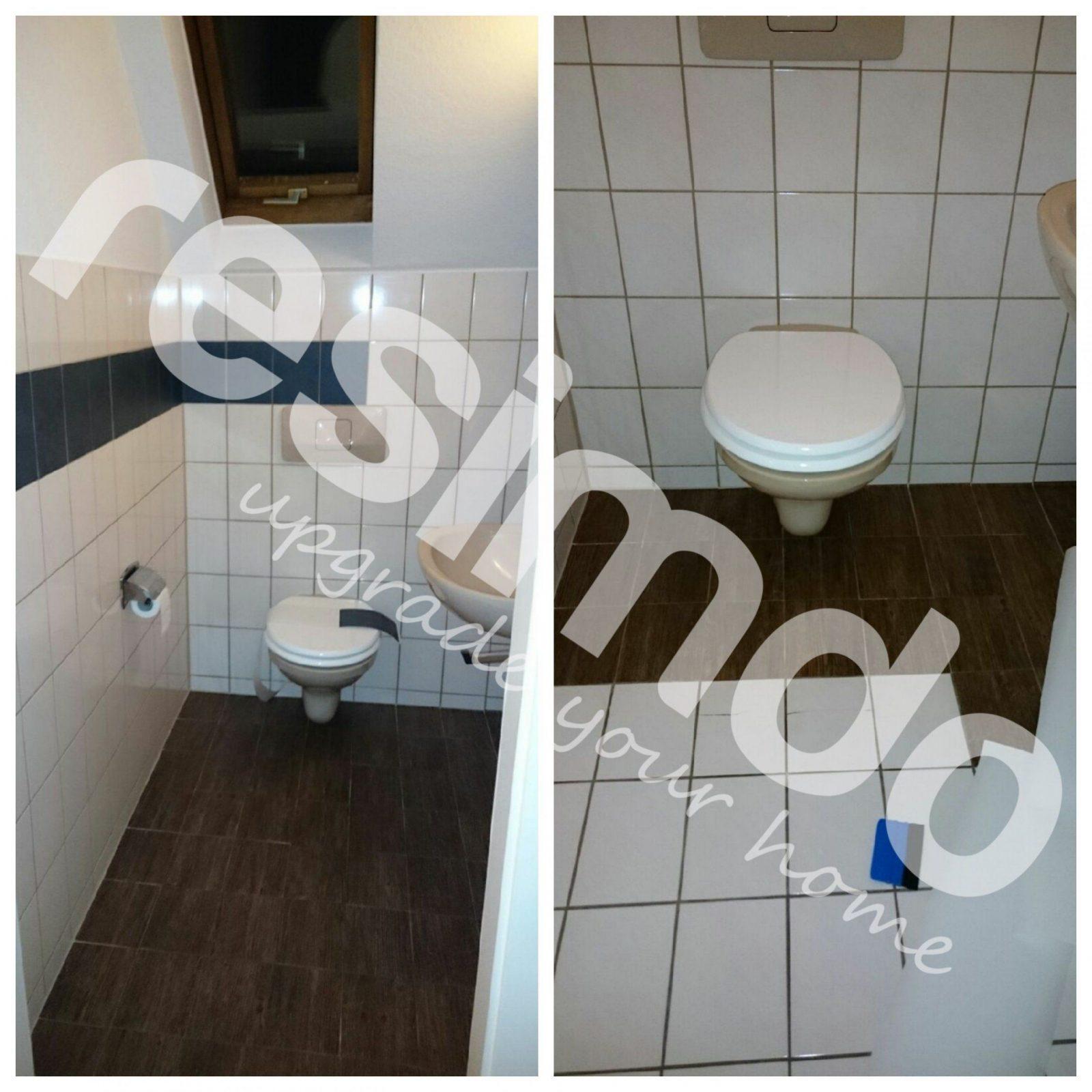 Fliesen Toilette Folieren Renovieren Holz Bekleben Diy von Hässliche Bad Fliesen Überkleben Bild
