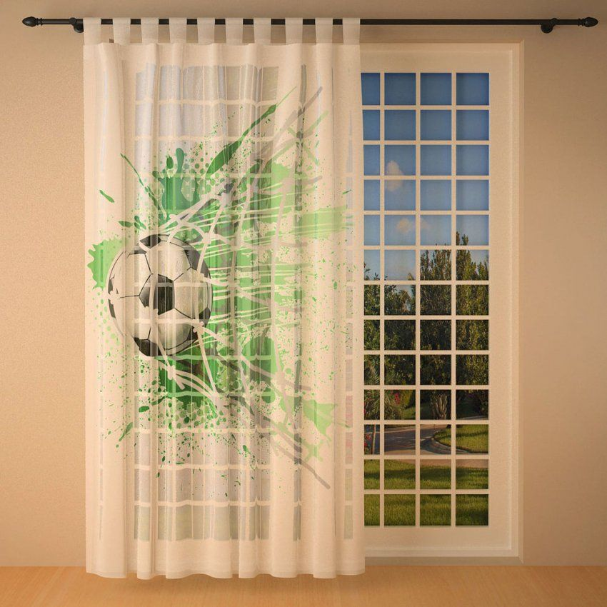 """Foto Schlaufenschal Vorhang Gardine 145X245Cm Kinderzimmer """"fußball von Fußball Gardinen Kinderzimmer Photo"""