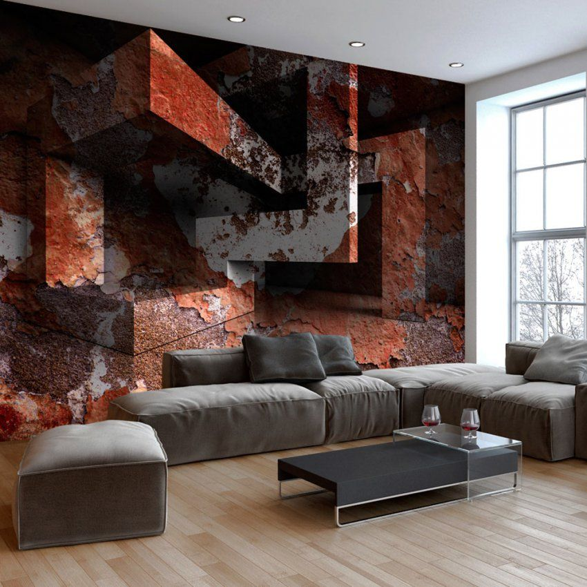 Fototapete 3D Optik Rost Labirynth Vlies Tapete Wandbilder 3 Farben von Fototapete In 3D Optik Bild