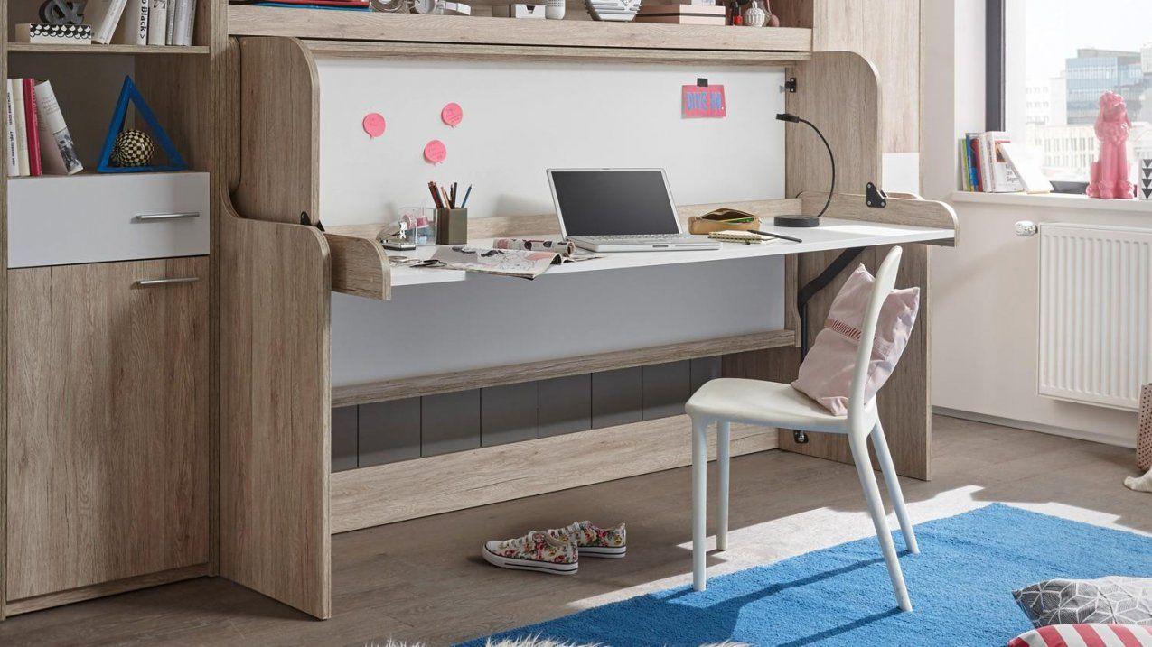 Funktionsbett Dakota Klappbett Schreibtisch Eiche San Remo Weiß 90X200 von Schrankbett Mit Integriertem Schreibtisch Photo
