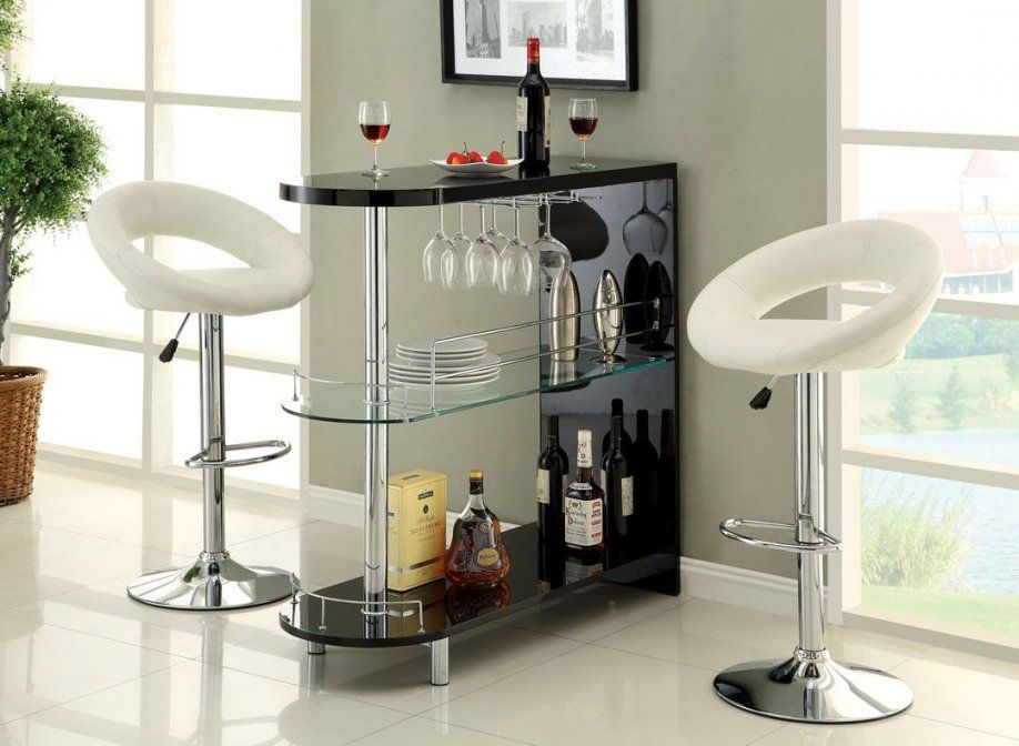 Furniture Of America Cmbt8333Bk Numbi Modern Style Black Lacquered von Mini Bar With Stools Photo