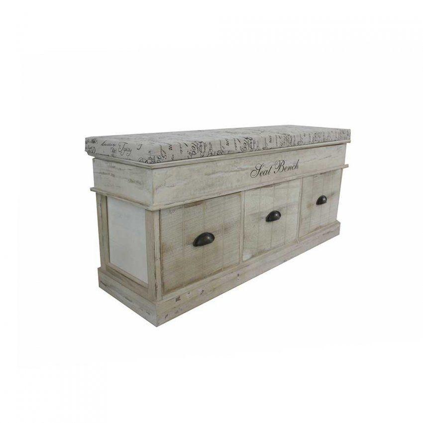 Garderobenbank Castemoda In Grau Weiß Shabby  Pharao24 von Sitzbank Shabby Chic Weiß Bild