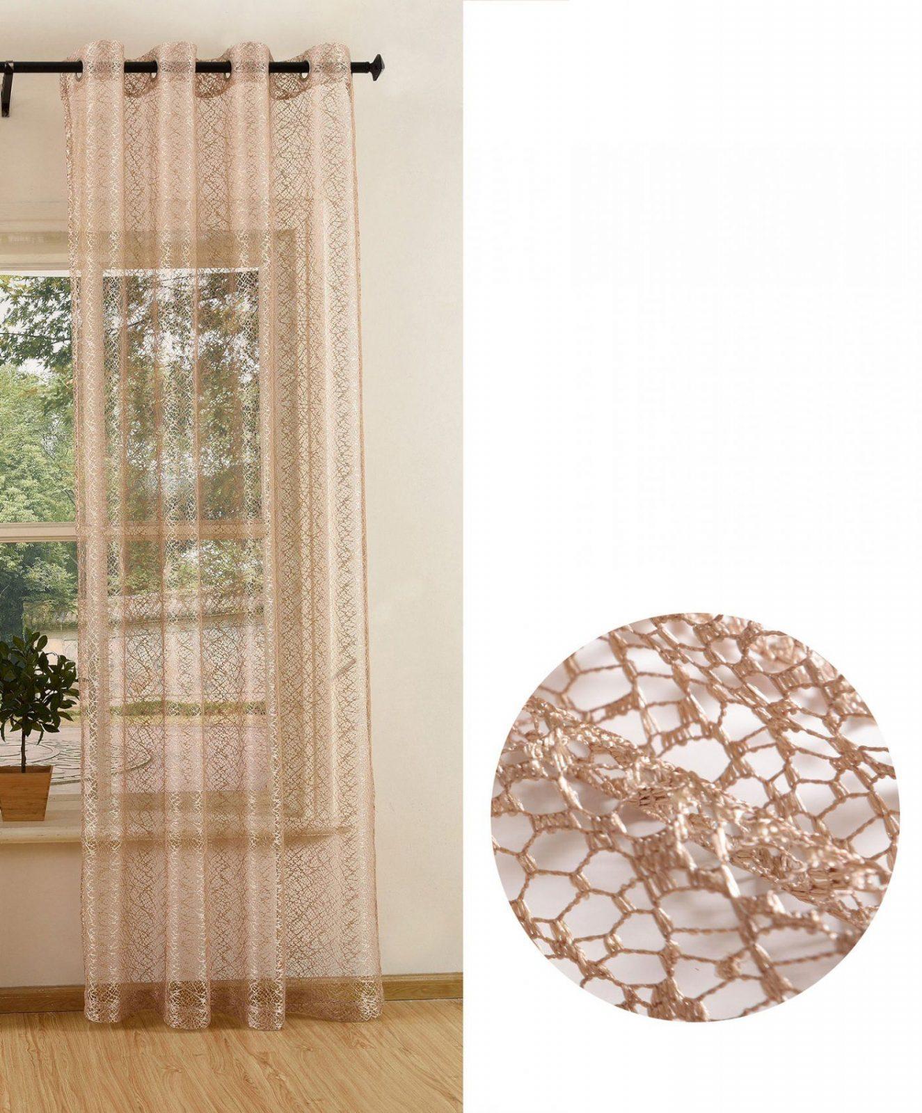 Gardine Netzvorhang Mit Ösen Einfarbig Transparent Bügelband Länge von Gardinen Kürzen Mit Bügelband Bild