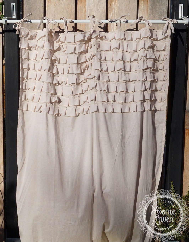Gardine Vorhang 110 X 240 Puderbeige Rüschen Landhaus Shabby Vintage von Shabby Chic Gardinen Selber Nähen Bild