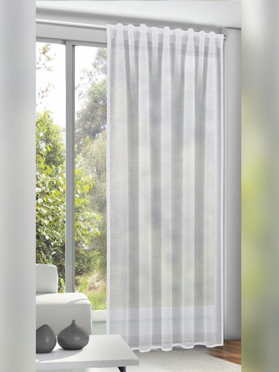 Gardinen  Einfarbig Weiß Mit Gardinenband Und Verdeckten Schlaufen von Fertigschal Mit Gardinenband Bild