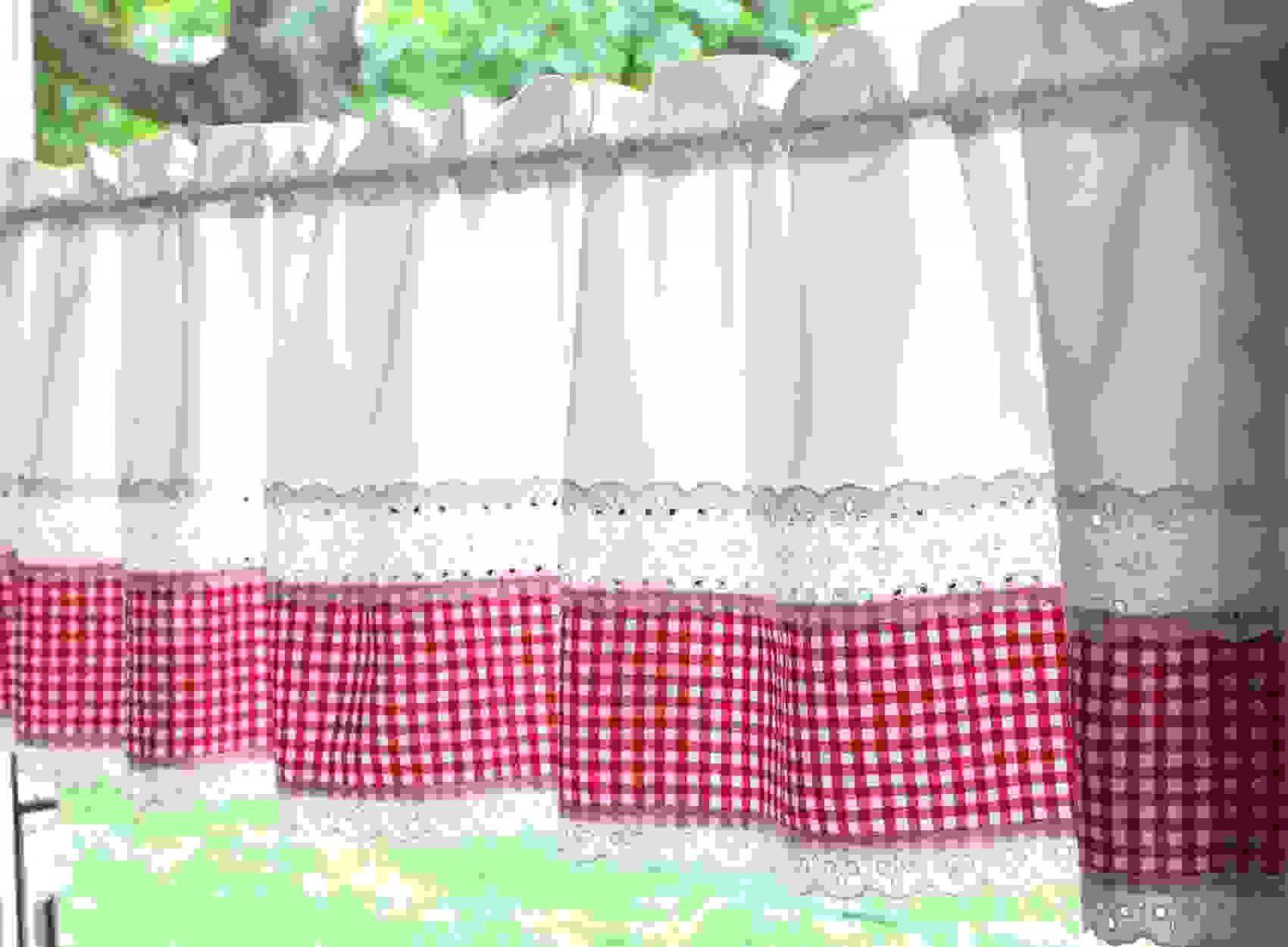 Gardinen  Gardine Landhaus Romantisch Weiß Rot Kariert  Ein von Landhaus Gardinen Rot Weiß Kariert Bild