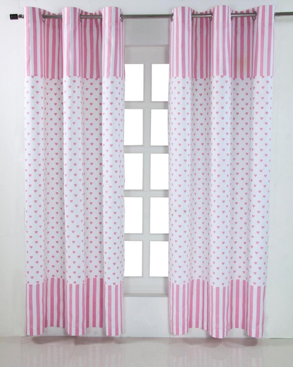 Gardinen Mit Ösen Herzen Rosa Weiß Im 2Er Set 100% Baumwolle von Gardinen Lila Weiß Bild