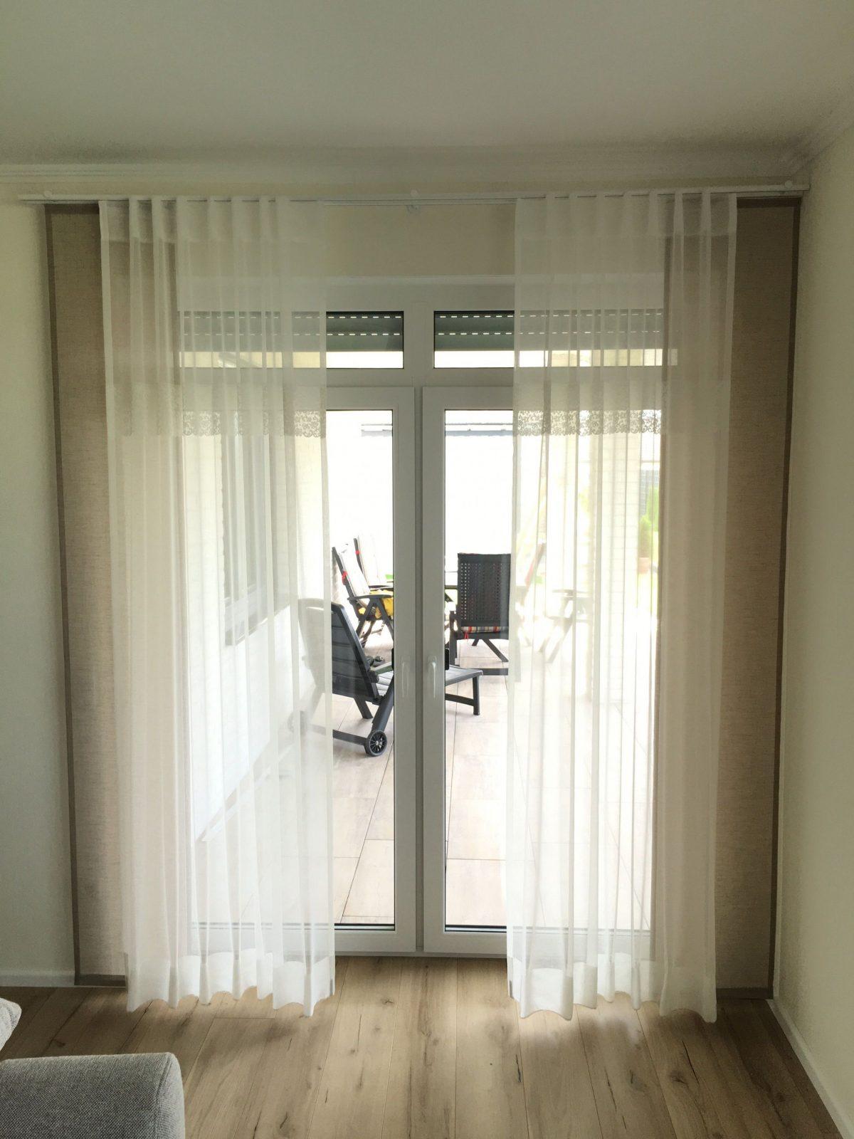 Gardinen Store Taupe Spitze Weiß Schal Für Große Fenster von Welche Gardinen Für Breite Fenster Bild