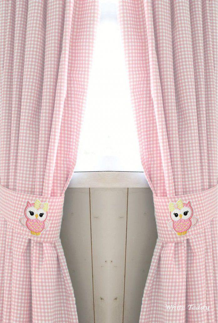 Gardinen & Vorhänge  Vorhang ♥Eule♥ Vichy Karo Rosa 140 X 240 von Gardinen Mit Eulen Photo