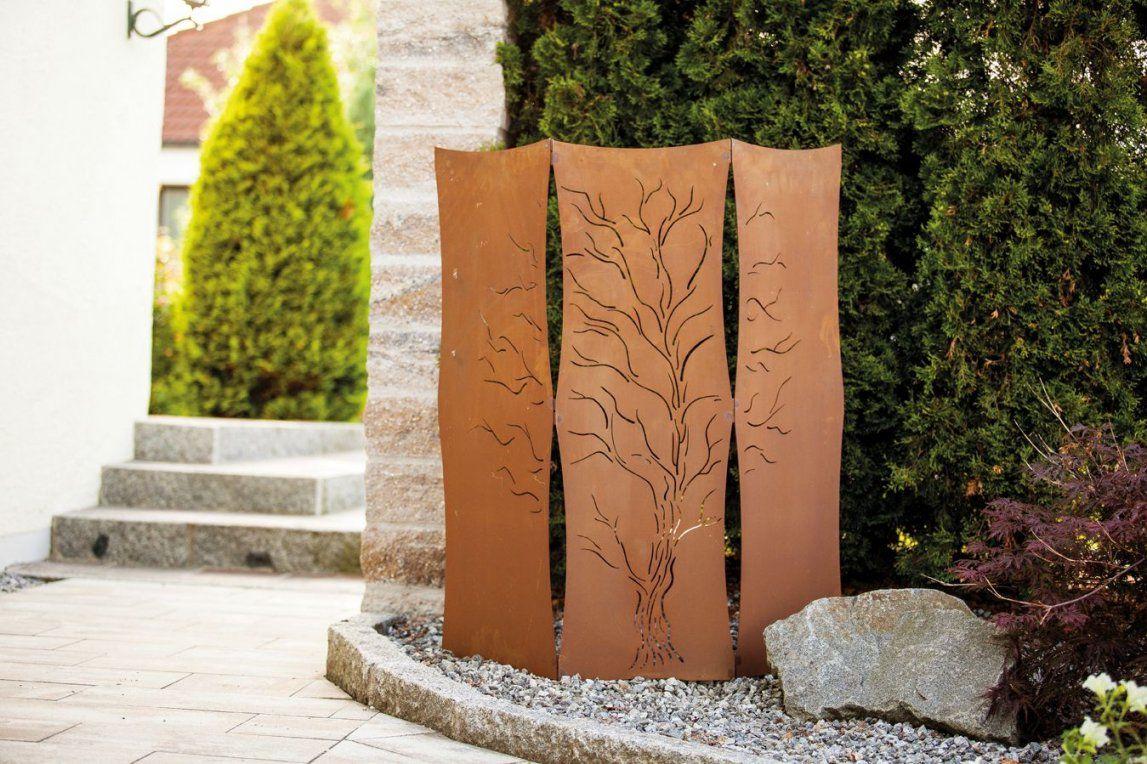 Garten Im Quadrat  Gartenparavent Als Sichtschutz Rostoptik von Sichtschutz Garten Metall Rost Bild