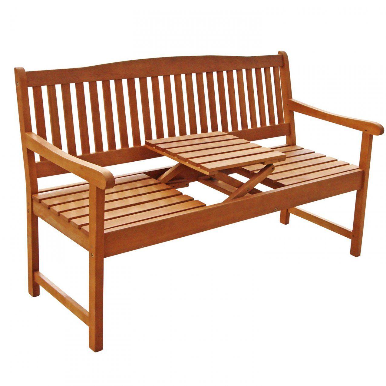 Gartenbank Mit Integriertem Klapptisch Aus Holz Ideal Für Picknick von Bank Mit Integriertem Tisch Photo