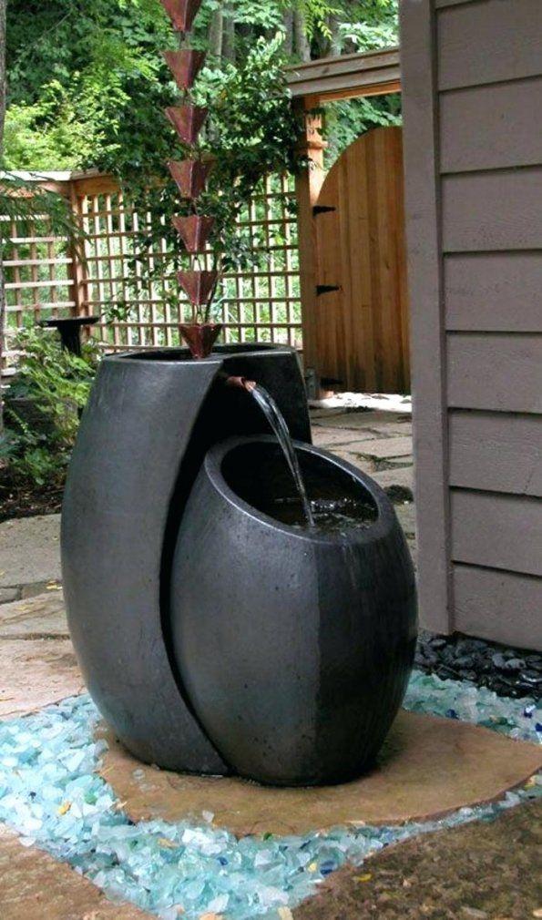 Gartenbrunnen Regenwasser Kreatives Design Edelstahl Led Selber von Gartenbrunnen Edelstahl Mit Beleuchtung Bild