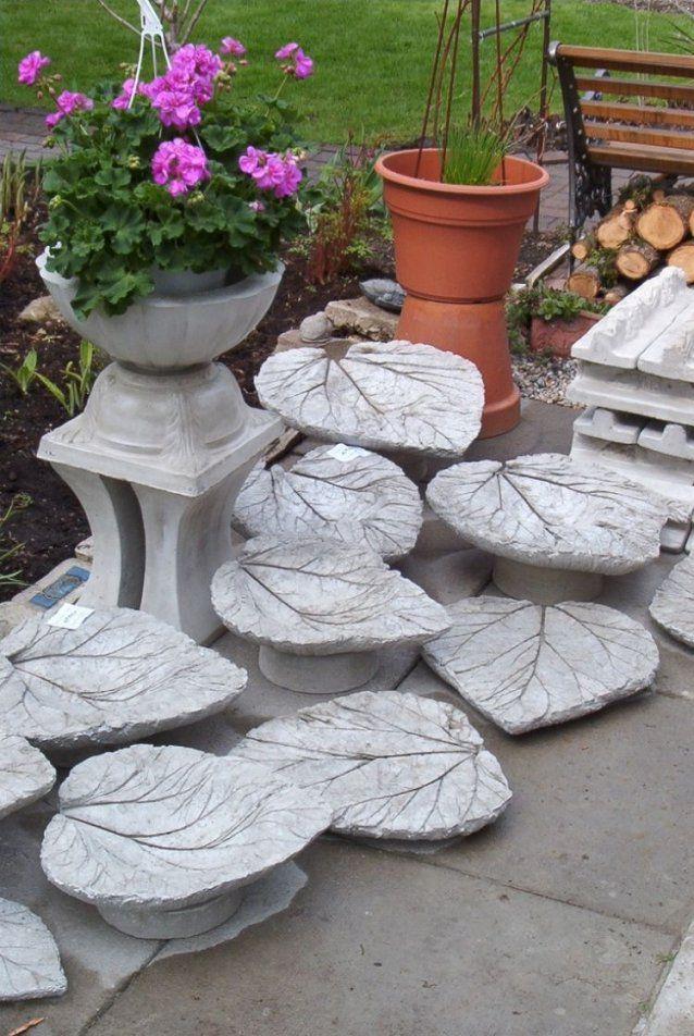 Gartendekobetonrhabarberblaetterselbstgemacht  Beton  Pinterest von Gartendeko Aus Beton Selbstgemacht Photo