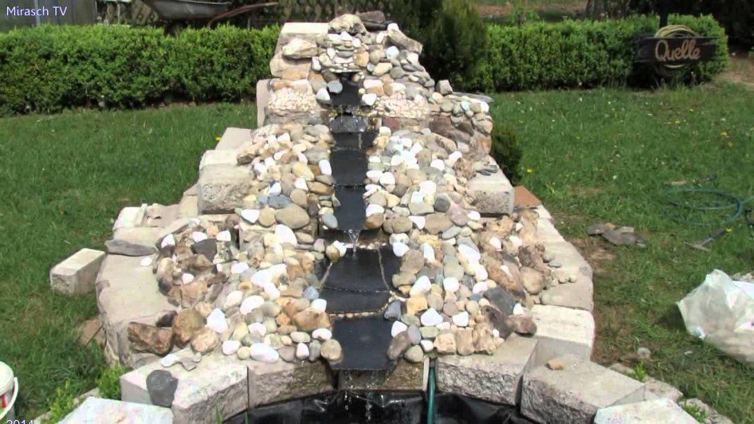 Garten Wasserfall Selber Bauen Steinmauer Teich Im Brunnen von Teich ...