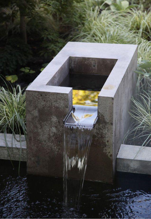 Gartenideen Pinterest Wasserfall Beton Modern Ziergräser  Garten von Moderne Wasserspiele Für Den Garten Photo