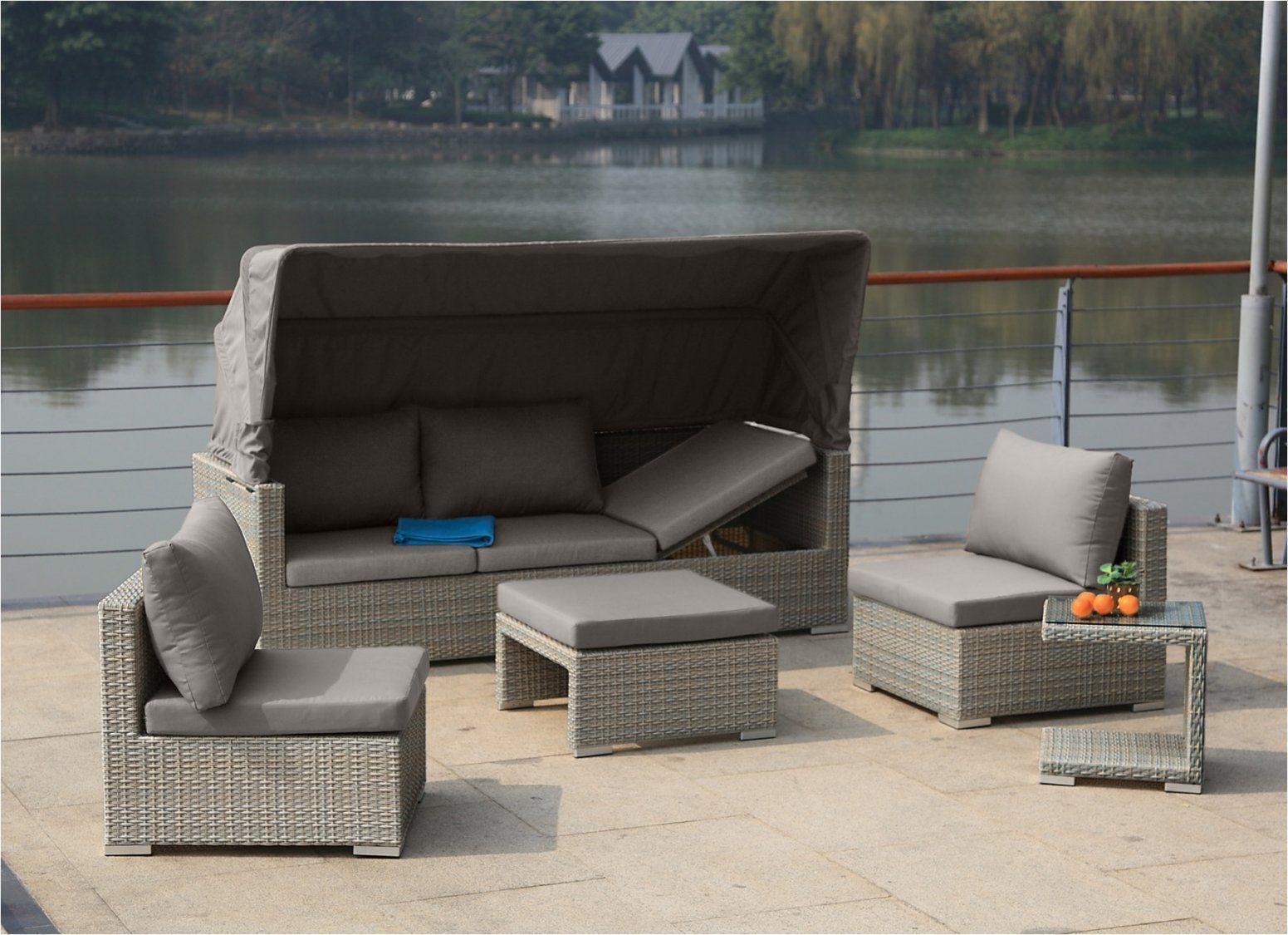 """Gartenmöbel Rattan Polyrattan Garten Lounge """"Liosun"""" Mit Sonnendach von Lounge Sofa Mit Dach Photo"""