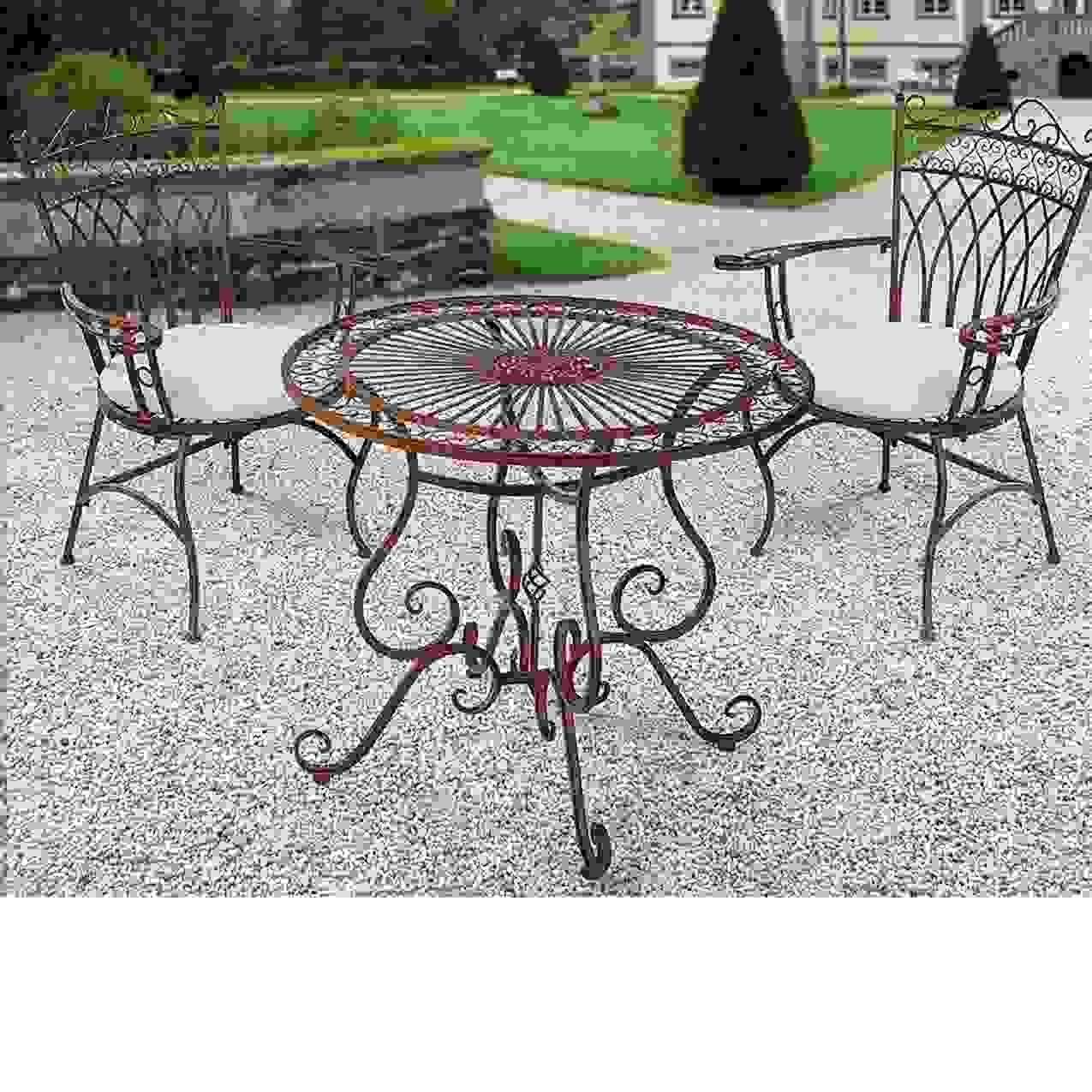 Gartenmöbel Set Aus Metall Antik Braun 3 Teilig Kaufen Konzept Von von Gartenmöbel Aus Metall Antik Photo