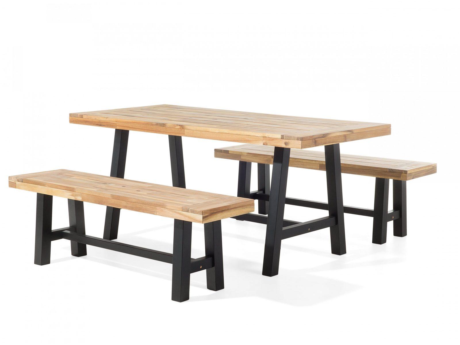 Gartenmöbel Set Holz Schwarzbraun Scania  Belianich von Gartentisch Mit 2 Bänken Bild