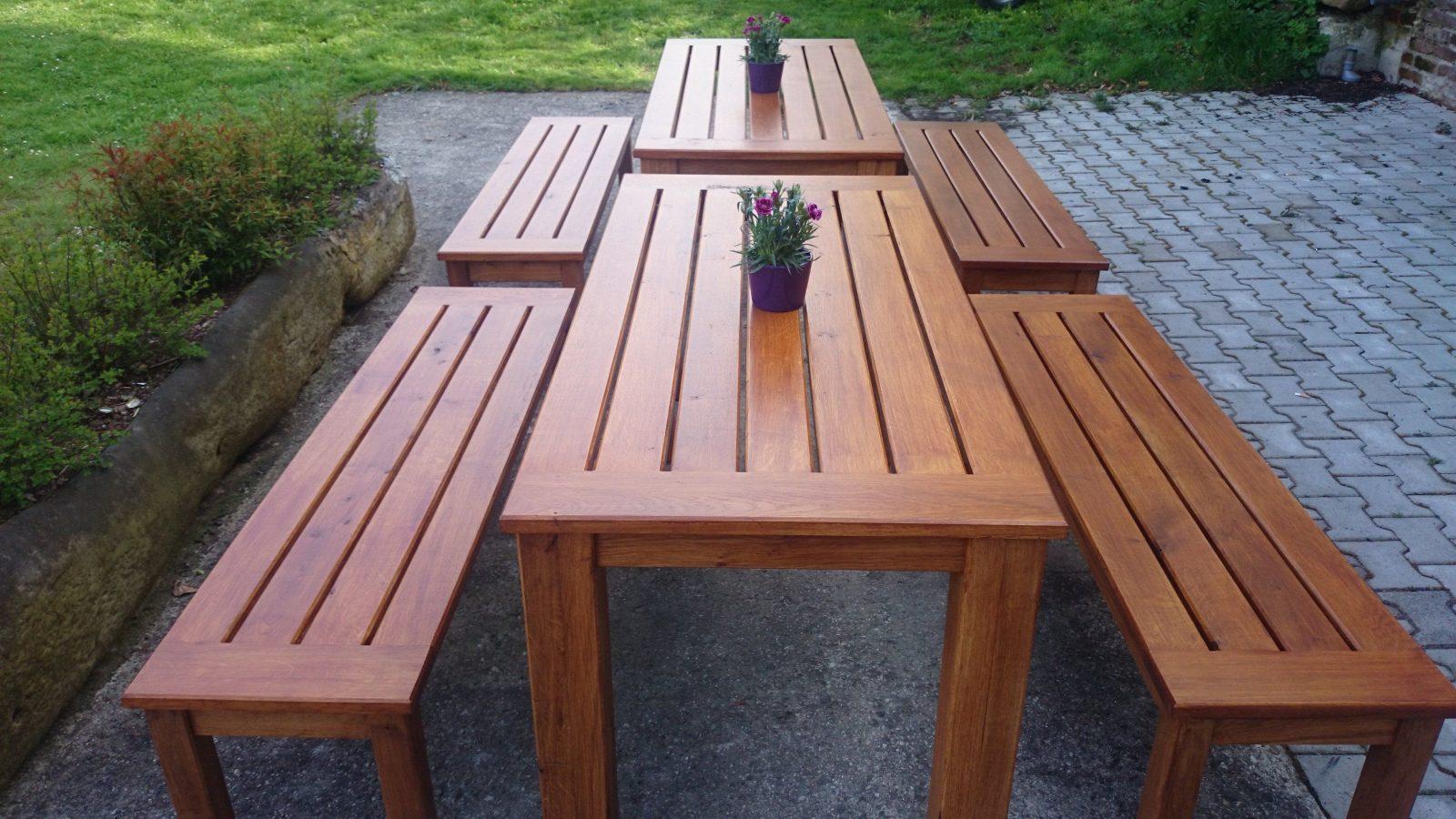 Gartenmöbel von Gartentisch Mit 2 Bänken Bild