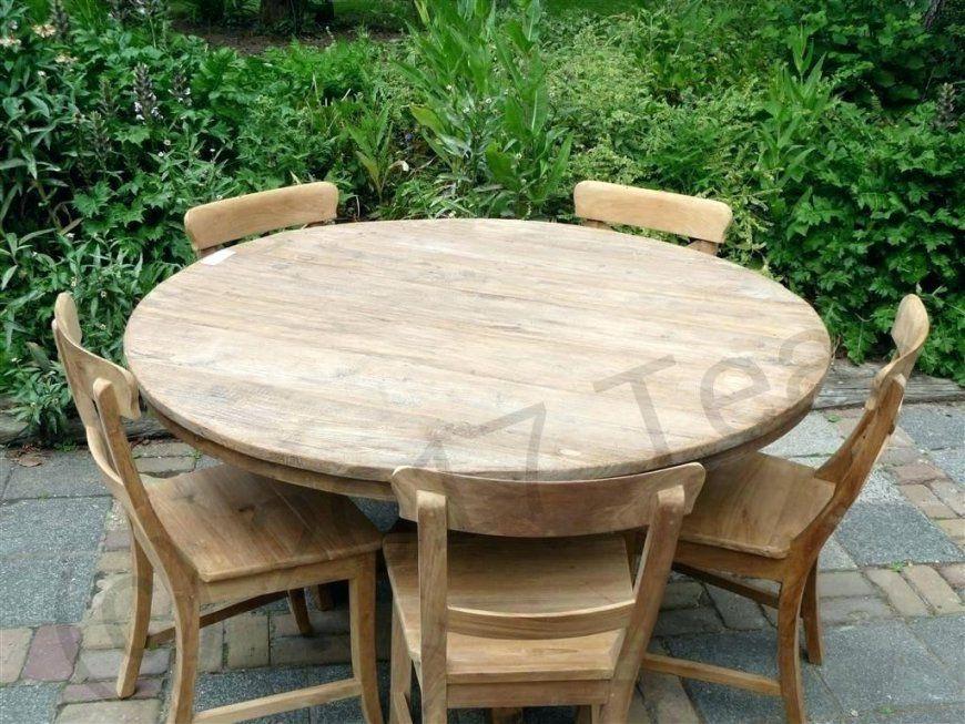 Gartentisch Rund 120 Cm Teak Tisch A Altes Holz Bild 3 Wetterfest von Gartentisch Holz Rund 120 Photo