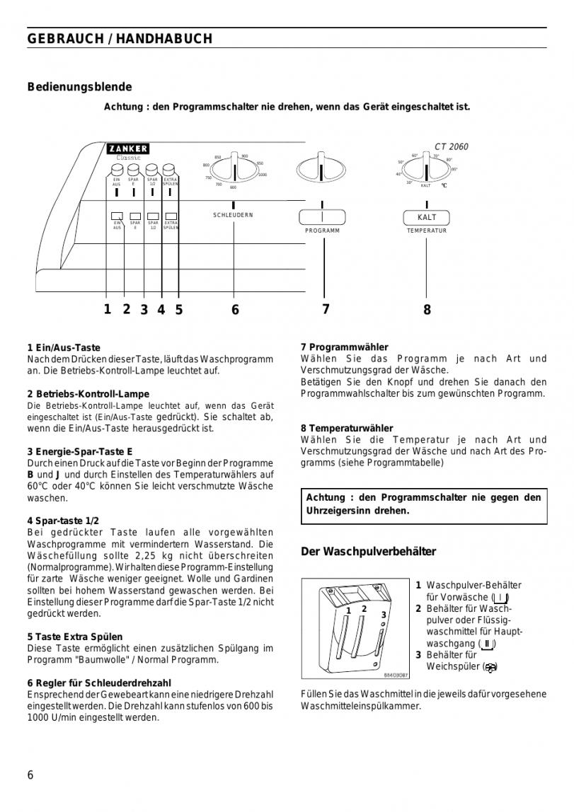 Gebrauch  Handhabuch Der Waschpulverbehälter Bedienungsblende von Gardinen Waschen Waschprogramm Bild