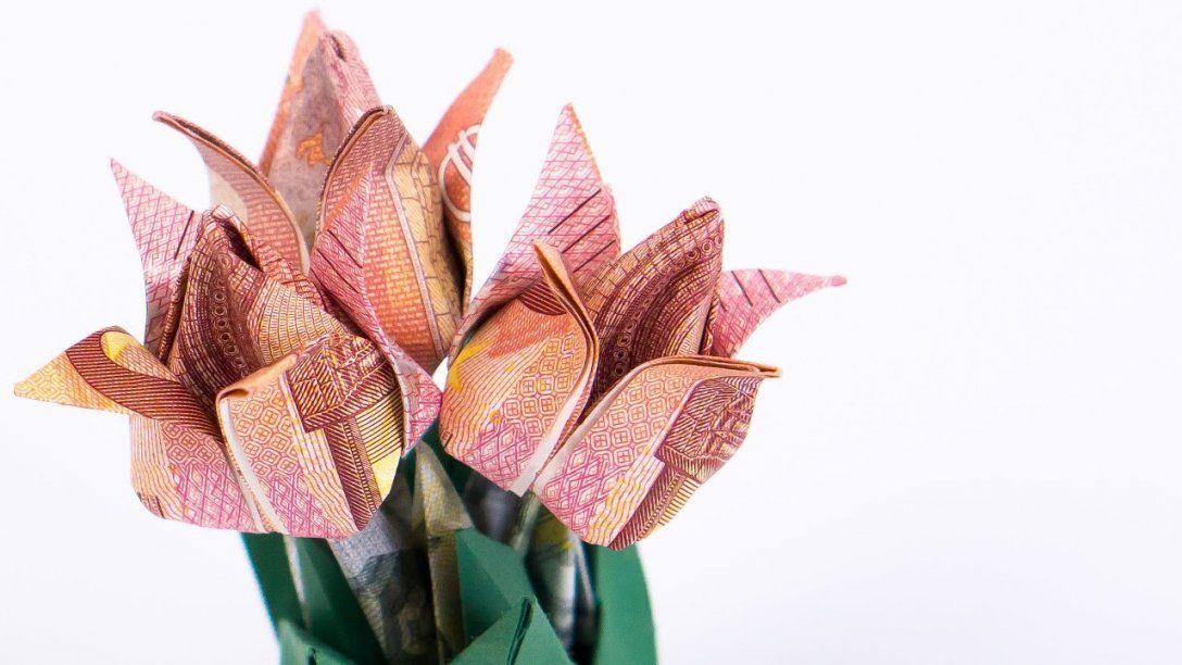 Geld Falten Blumen Tulpen Blumentopf Aus Geldscheinen Basteln  Youtube von Blumen Basteln Aus Geld Bild
