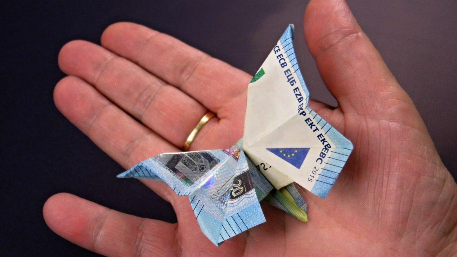 Geld Falten ❁ Schmetterling Aus Geldscheine Basteln ❁ Deko Ideen von Blumen Basteln Aus Geld Photo