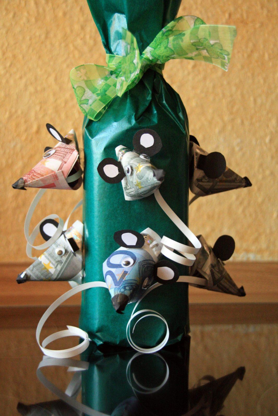 Geldgeschenke Zum Geburtstag – Flaschen Geschenk Geldgeschenke von Maus Aus Geldschein Falten Photo