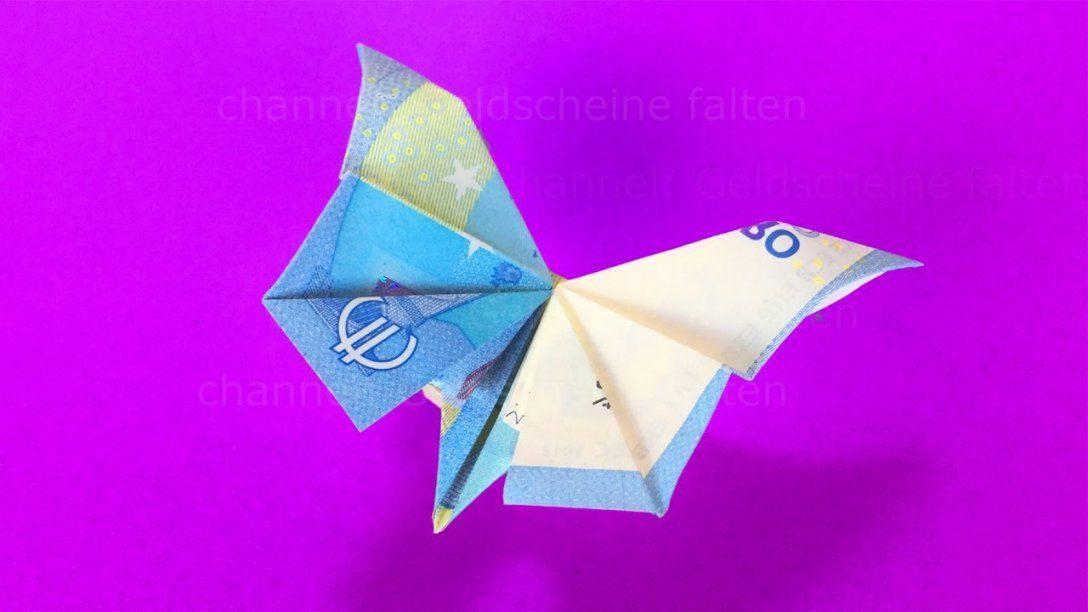 Geldscheine Falten Schmetterling  Geldgeschenke Basteln  Geld von Blumen Falten Aus Geldscheinen Bild