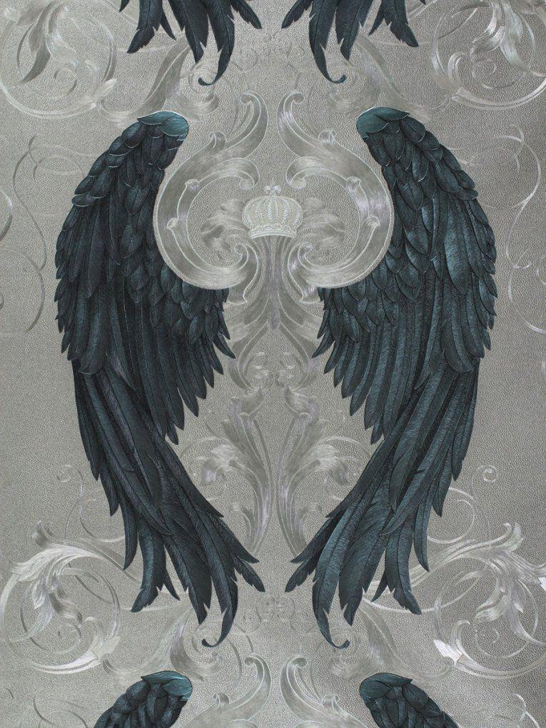 Glööckler Tapete Vlies Engelsflügel Silber Blau Glanz 52579 von Tapeten Von Harald Glööckler Photo