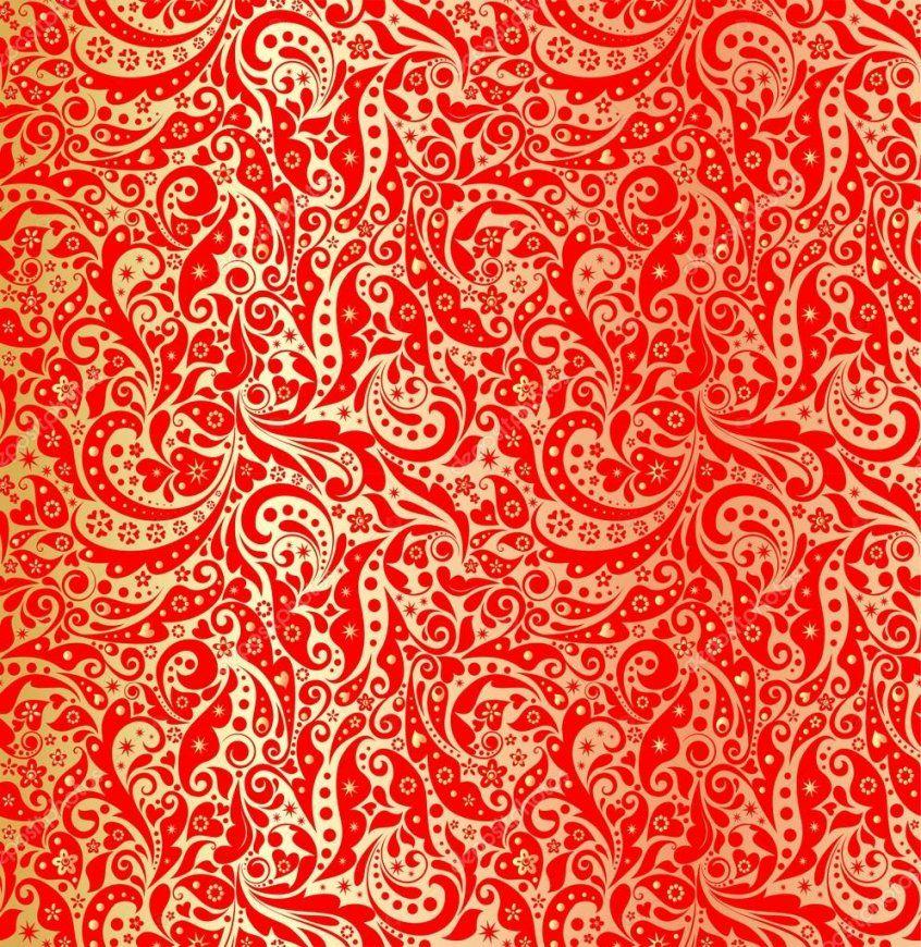 Gold Tapete Mit Urlaub Rot Muster — Stockvektor © Antonovaolena von Rote Tapete Mit Muster Bild