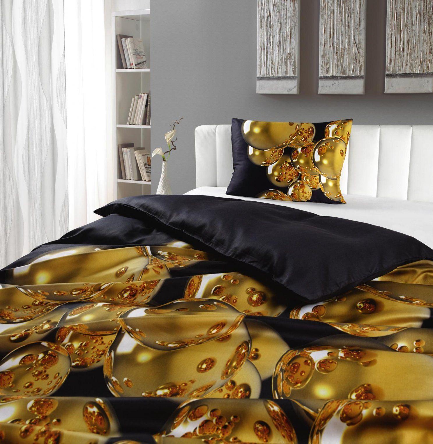 Goldfarbene Bettwaesche Sets  Dibinekadar Decoration von Novel Bettwäsche 155X220 Photo