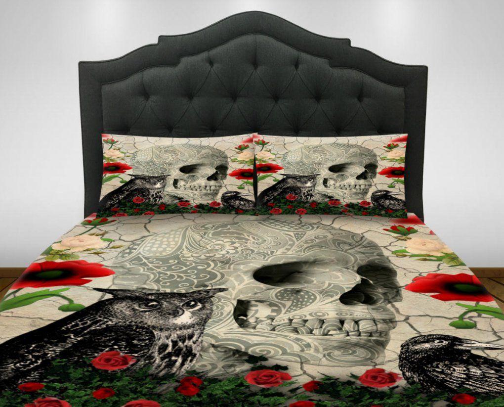 Gothic Totenkopf Bettwäsche Tröster Set Bettdeckeabdeckung von Bettwäsche Totenkopf Motiv Photo