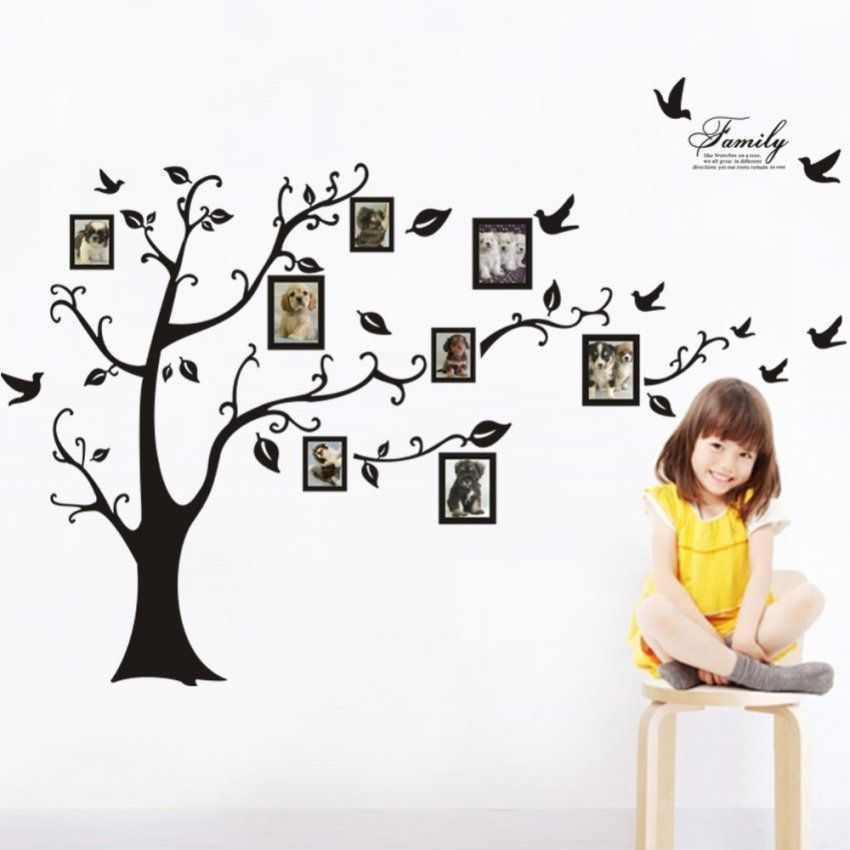Große Baum Wandaufkleber Bilderrahmen Familie Diy Vinyl 3D Wand von Wandtattoo Baum Mit Fotorahmen Bild