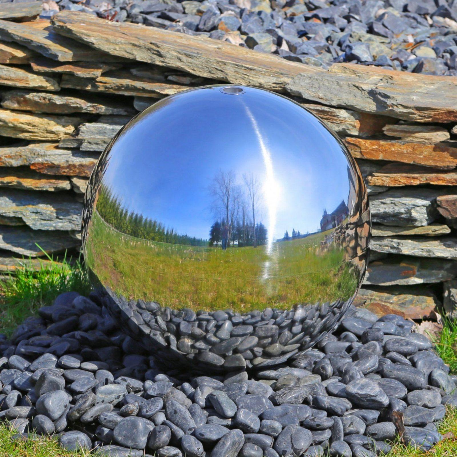Große Kugel 48Cm Für Springbrunnenbau Mit Led Beleuchtung Wasserspiel von Gartenbrunnen Edelstahl Mit Beleuchtung Photo
