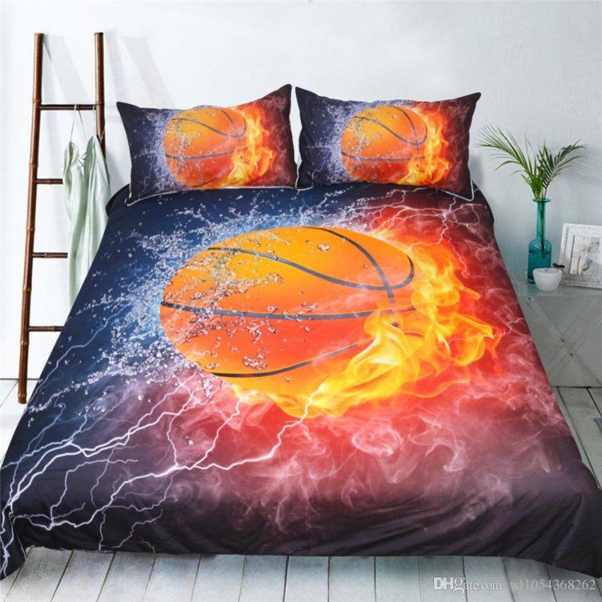 Großhandel Heimtextilien Psychedelic Basketball 3D Printed Bettbezug von Amerikanische Bettwäsche Größen Bild