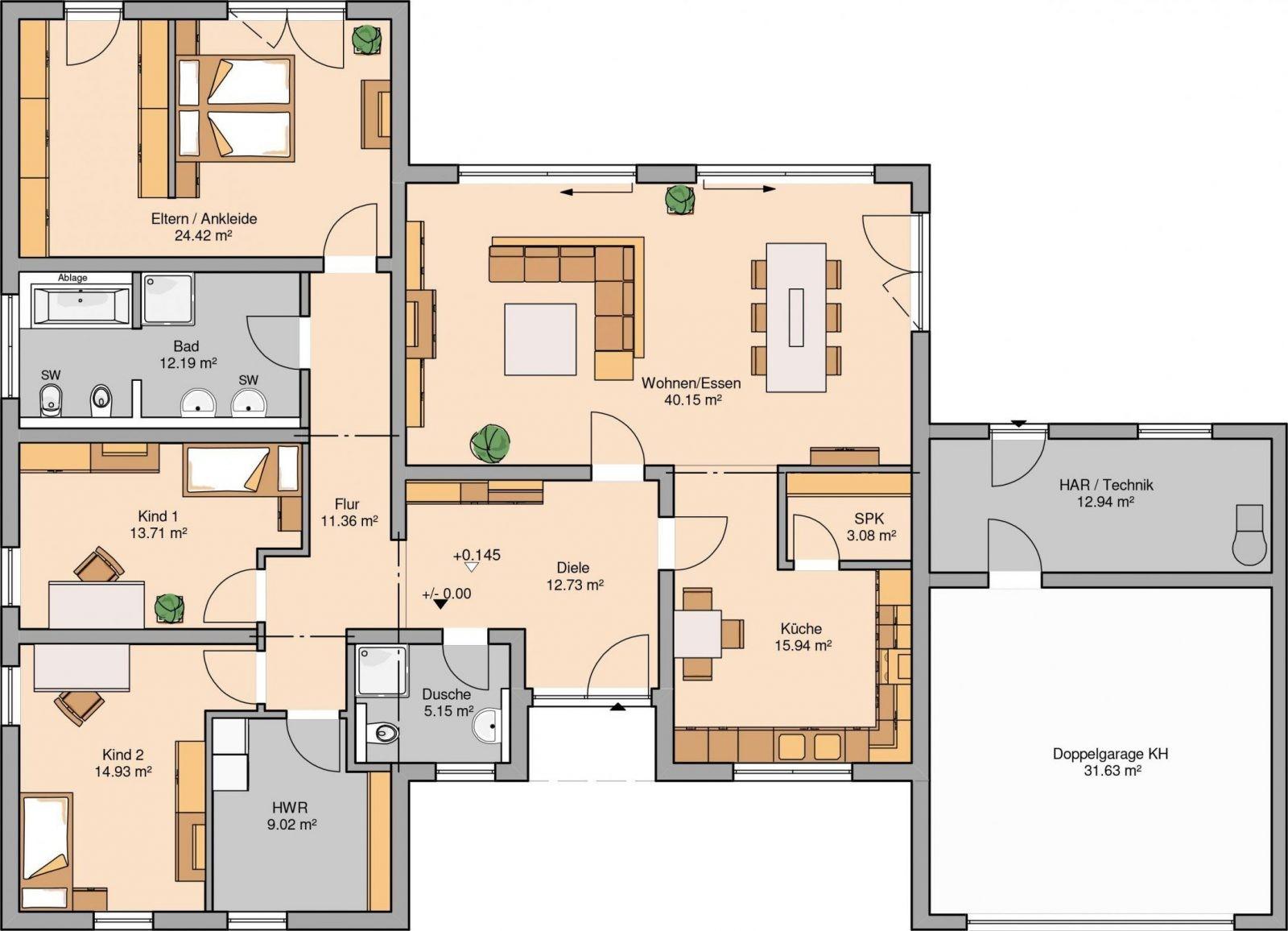 Grundriss Winkelbungalow Mit Garage Home Interior Ideen Design Avec von Grundriss Bungalow 120 Qm Mit Garage Bild