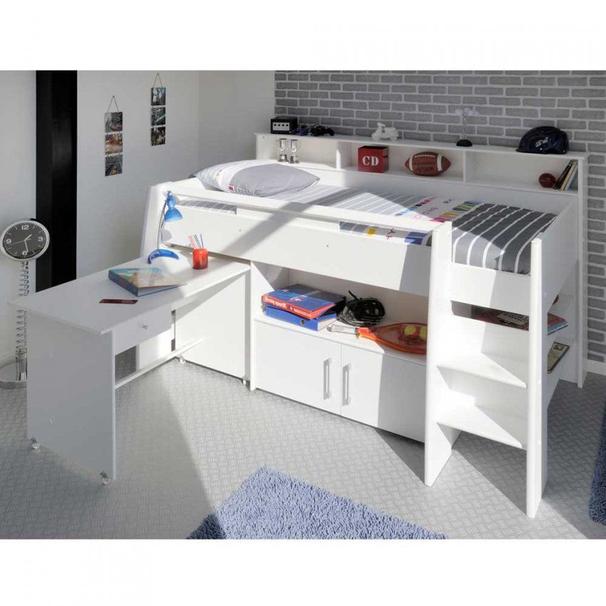 Halbhochbett Sinop In Weiß Mit Schreibtisch  Pharao24 von Hochbett Weiß Mit Schreibtisch Bild