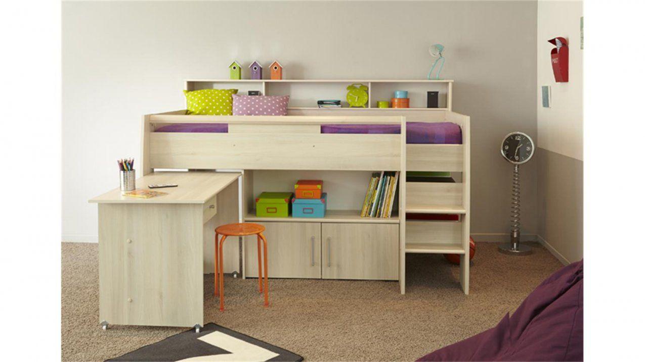 Halbhohes Bett Charly 2 Akazie Inkl Schreibtisch Kommode von Kinderbett Mit Schreibtisch Und Kleiderschrank Photo